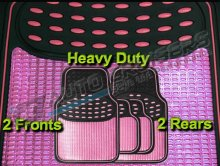 Universal Shiney Pink Stylish Black Rubber Heavy Duty Car Mats