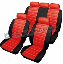 Red Black Quilted Leather Look Car Seat Covers