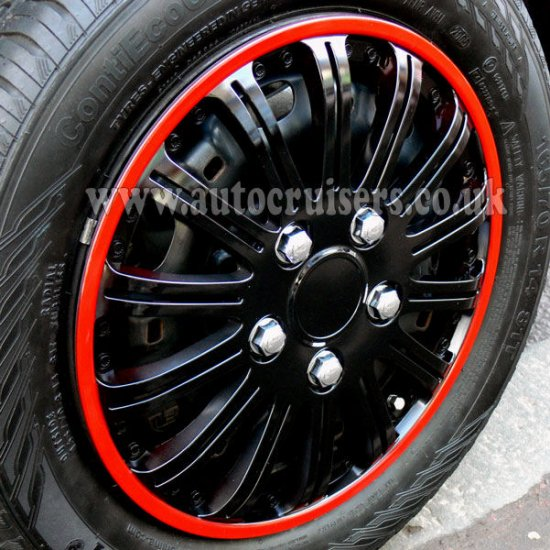 "14"" Red Ring, Black Car Wheel Trims Hub Cap Covers & Free !!! - Click Image to Close"