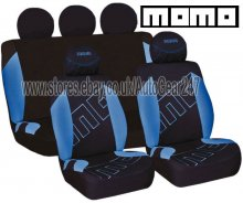 Momo Italy 11 Pcs Blue Black Air Bag Compatible Car Seat Covers