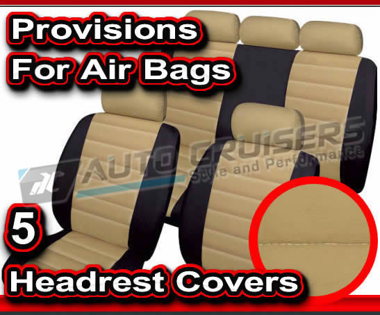 Beige Black Quilted Leather Look Car Seat Covers - Click Image to Close