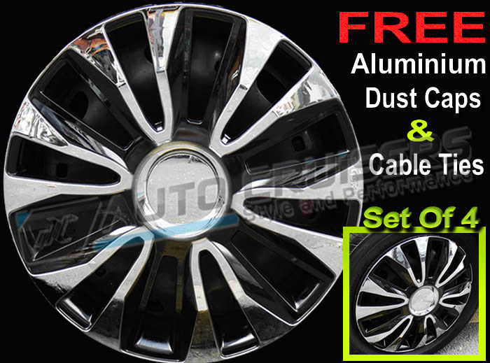 "14"" Black Chrome Car Wheel Trims Hub Caps Covers + Free - Click Image to Close"