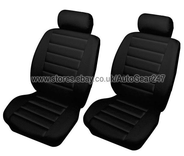 Black Quilted Leather Look Car Seat Covers, Air Bags OK - Click Image to Close
