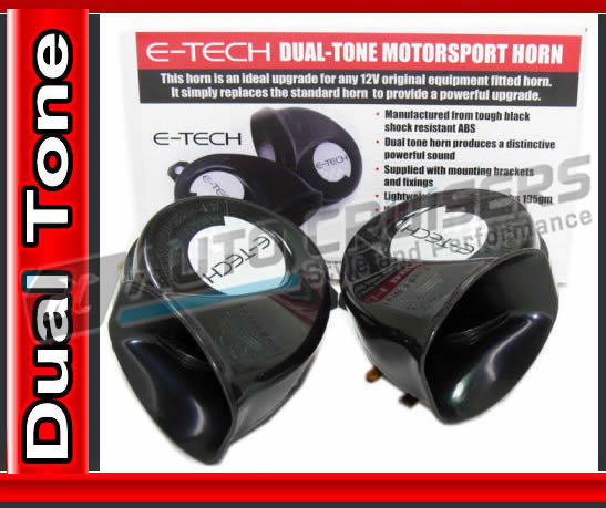 E Tech 12V Dual Tone Motorsport Light Weight Powerful Horn - Click Image to Close