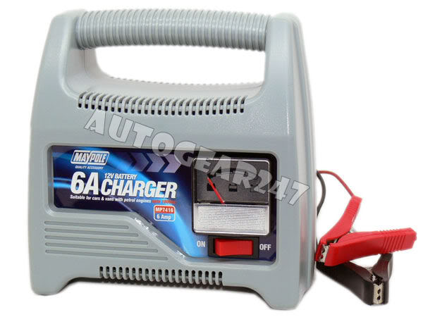 Compact 12V 6A Car Van Boat Battery Charger upto 1800cc - Click Image to Close