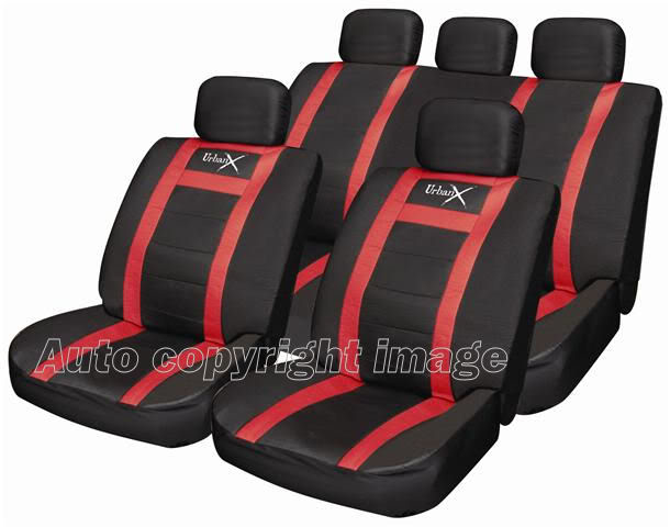 Sports Leather Look Black Red Car Seat Covers Set Pack - Click Image to Close