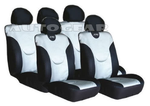 Silver Black Leather Look XRC Car Seat Covers Set - Click Image to Close