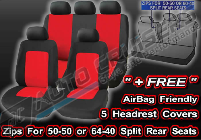 Black Red Lumbar Support Full Set Camden Car Seat Covers Set - Click Image to Close