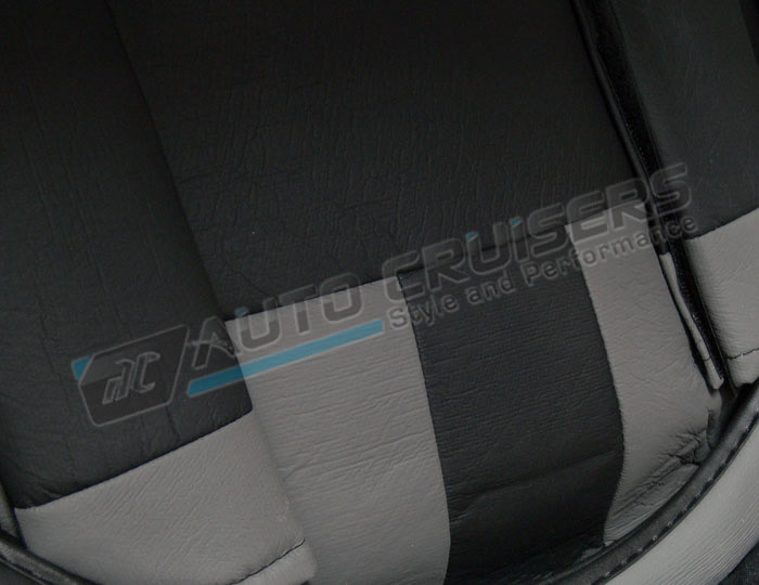 Black Grey Leather Look Split Rear Full Car Seat Covers - Click Image to Close