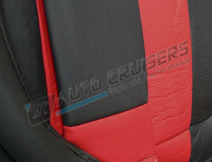 Black Red Leather Look Split Rear Full Car Steering Seat Covers - Click Image to Close