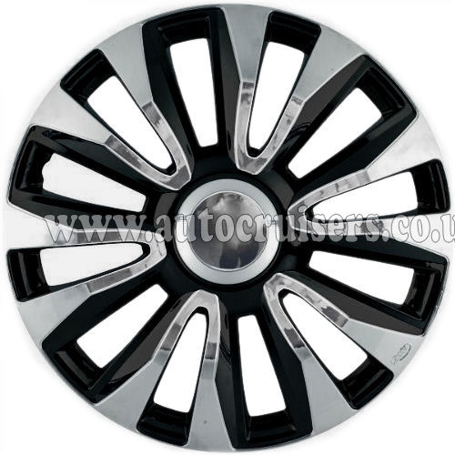 "14"" Black Chrome Domed & Deep Dish Car Van Wheel Trim Covers - Click Image to Close"