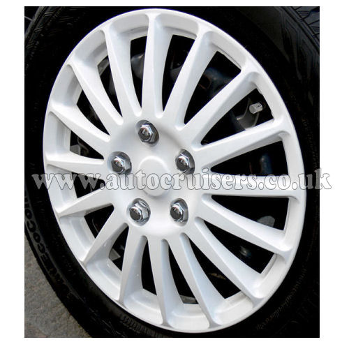 "15"" White Multispoke Car Wheel Trims Hub Caps Covers & Free !!! - Click Image to Close"
